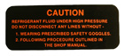Air Conditioning Compressor Warning Decal, 1955-63 Cadillac