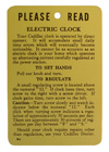 Electric Clock Instruction Tag, 1939-59 Cadillac