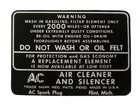 Air Filter Maintenance Decal, 1937-48 Olds dry element