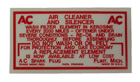 Air Filter Maintenance Decal, 1949-56 Olds dry element